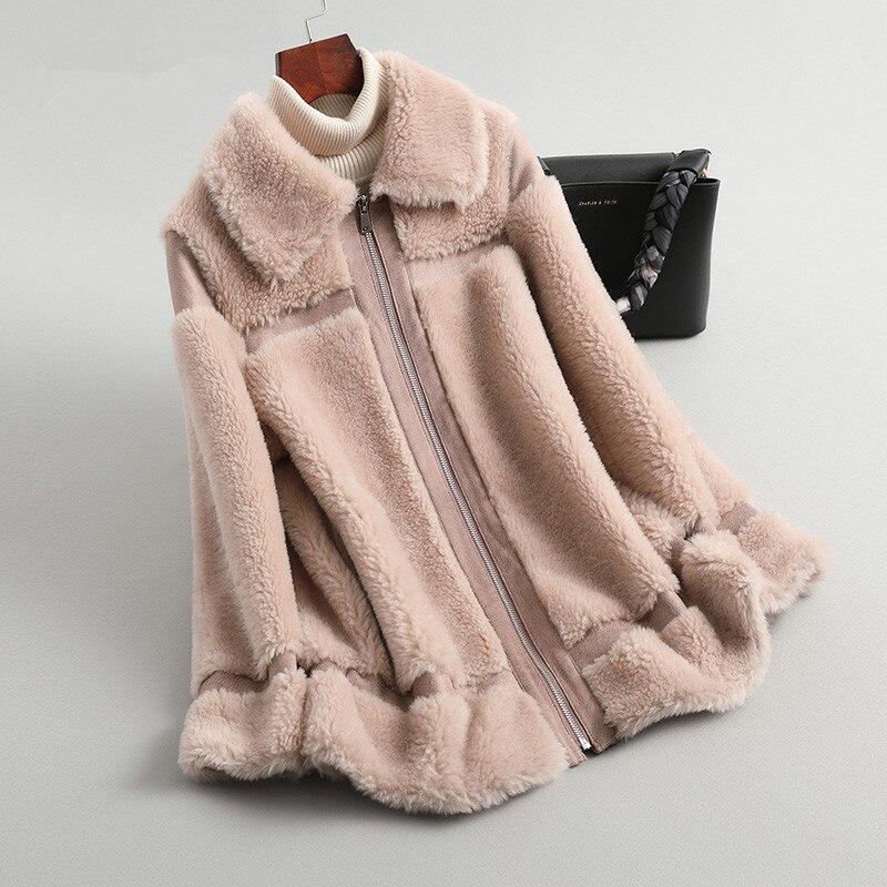 Shearling Sheep 2020 Real Fur Coat Winter Jacket Women 100% Wool Coat Female Long Pink Jackets Korean Outwear MY4199 S