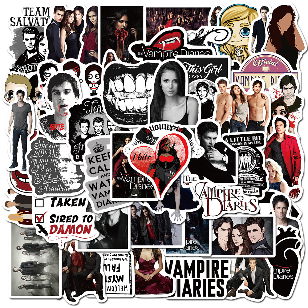 50Pcs/pack American Fantasy TV Series The Vampire Diaries Stickers for DIY Toy Luggage Laptop Skateboard Scrapbook Mobile Phone image