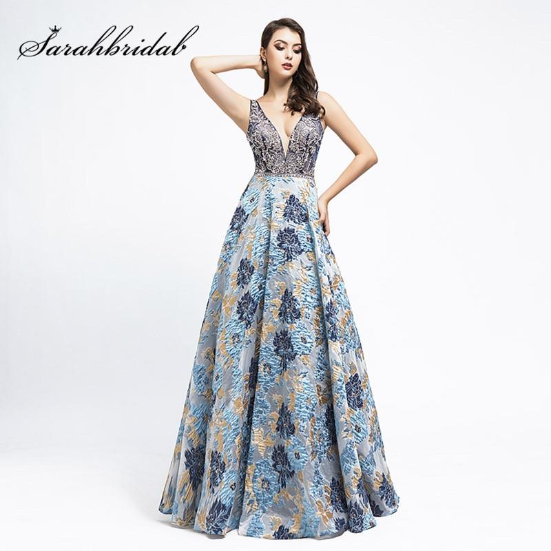 Elegant Unique Jacquard Relief Evening Dresses New Arrival High-End Formal Dress Navy Blue Women Maxi Pageant Gowns L5473