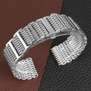 Image 3 - 22/24 ミリメートルシルバー/黒サメメッシュステンレス鋼時計バンドプッシュボタン隠しクラスプ男性腕時計ストラップ調節可能なブレスレット