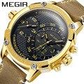 Часы megir reloj hombre мужские часы Dual-time Move Мужские t многофункциональные кожаные кварцевые наручные часы личность Relogio Masculino