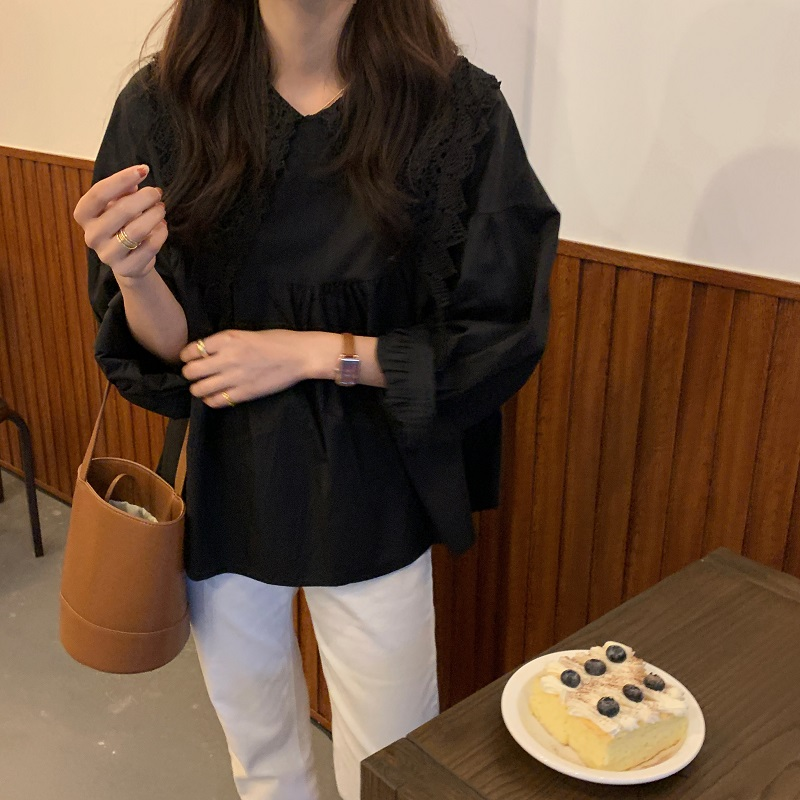 Hffe00209234e4ffab7cb37f171e7105d6 - Spring / Autumn Butterfly Lace Collar Long Sleeves Solid Blouse