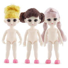 13 Joint 15cm 1/8 BJD Dolls Toys Yellow hair White Skin Baby Doll Naked Nude Body Dress Up Toy DIY Toys for Girls Gift 1 12 original girls bjd doll 14 joint baby doll toy lovely princess body nude bjd doll dress up baby toy for girls gift kids toy