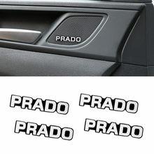 Adesivo emblema de alumínio para carro, decoração de áudio 3d, 4 unidades, para toyota prado 120 fj150 land cruiser 80 auto capa acessórios