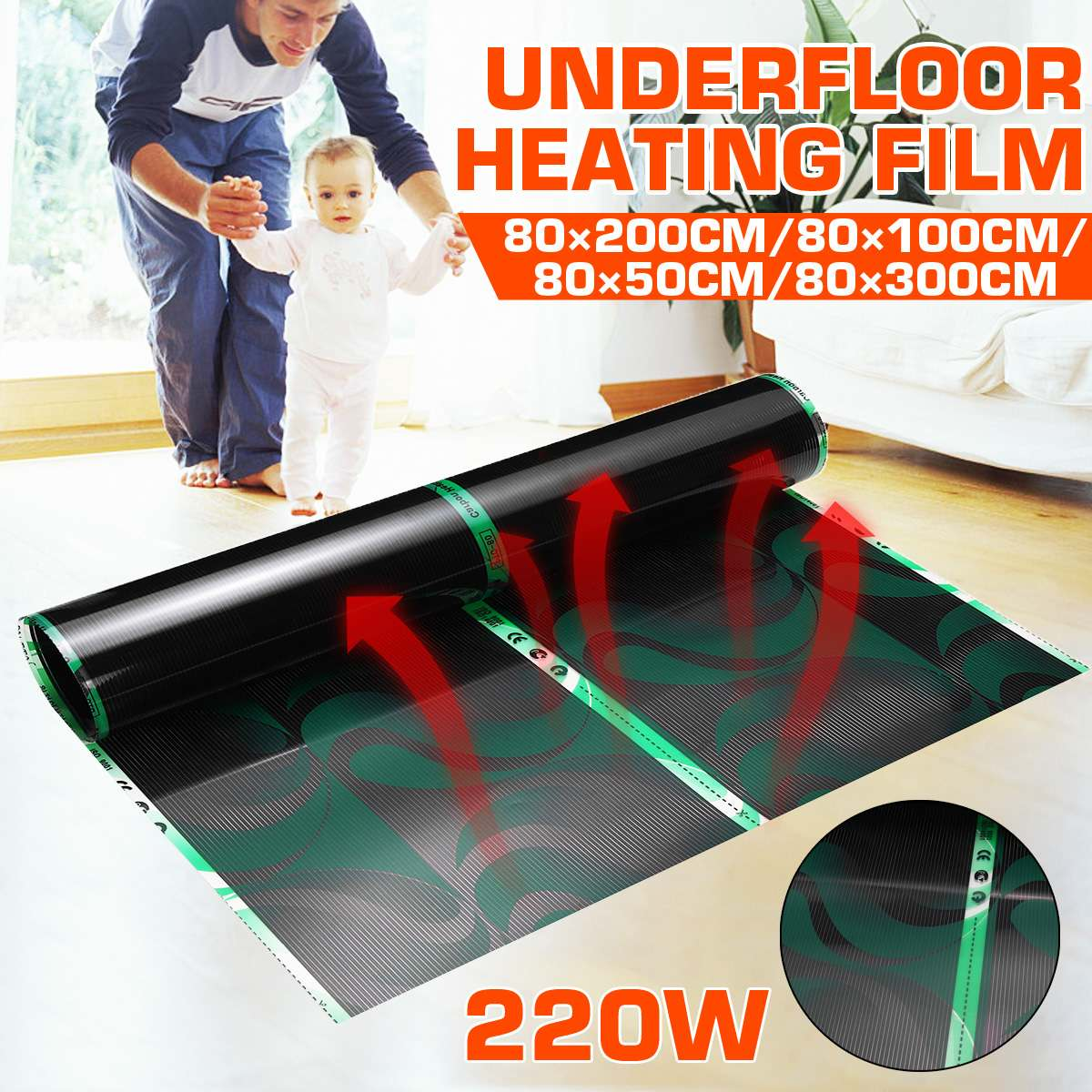 80cm Electric Heating Film Infrared Underfloor Foil Warming Mat 220V 220W Floor Heating Systems & Parts Living Room Warm Mat