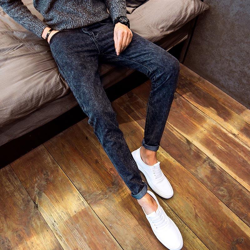 2020 Men Stretch Fashion Denim Jeans Slim Fit Skinny Fashion Casual Long Pencil Pant Styling Black Blue