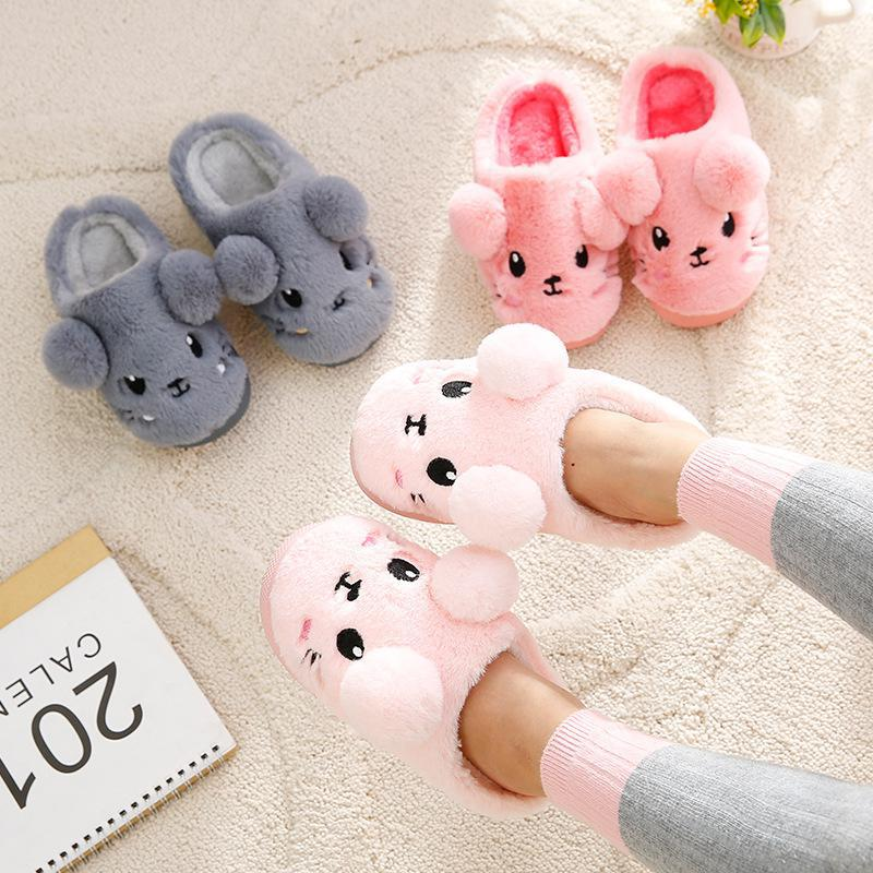 Winter New Cotton Slippers Candy Color Cartoon Cute Bag With Children's Slippers Girls Male Baby Cute Children Home Cotton Shoes