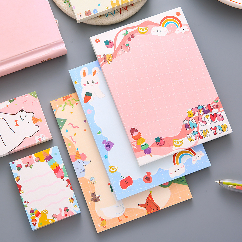 Yisuremia Kawaii Sweetheart 50/100 Sheets Memo Pads Note Paper Message Cute Decorative Notepad Office Stationery School Supplies