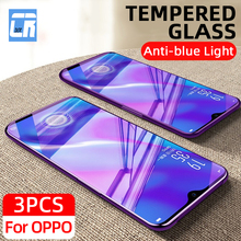 3Pcs Anti Blue Light Protective Glass for OPPO Reno 4 3 2Z A91 K7 R17 2.5D Tempered Glass for Realme X7 X50 6 5 3 Pro Glass Film