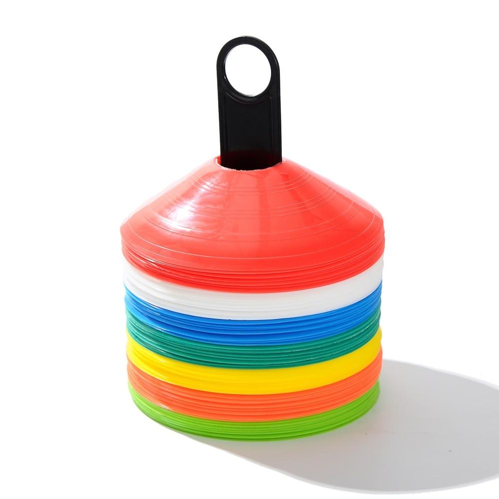 10pcs/set Soccer Training Sign Dish Pressure Resistant Cones Marker Discs Marker Bucket PVC Sports Accessories Colors Random