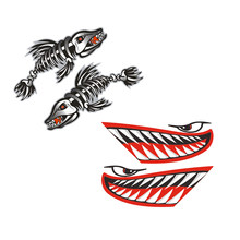 2 Pairs / Set Vinyl Shark Mouth Teeth & Fish Bone Kayak Dinghy Fishing Boat Decals Car Bumper Wall Funny Stickers(China)