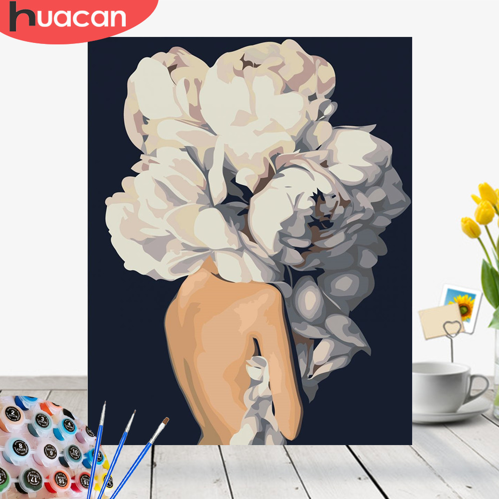 HUACAN Fotos Por Números Menina Flor DIY Pintura A Óleo Por Números Pintado À Mão Home Decor Kits Desenho Figura Lona