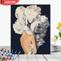 Huacan fotos por números menina flor diy pintura a óleo por números pintados à mão kits de decoração para casa desenho figura da lona