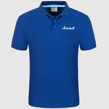 Рубашка поло с логотипом Marshall, мужская летняя рубашка поло с коротким рукавом, Хлопковая весенняя повседневная мужская рубашка поло e