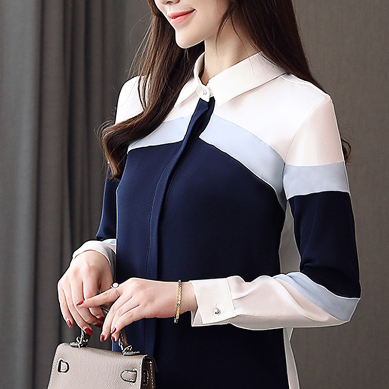 Korean Fashion Clothing 2019 Blusas Femininas Shirts For Women Tops Long Sleeve Chiffon Blouse Shirt Button Stripe Harajuku 0184