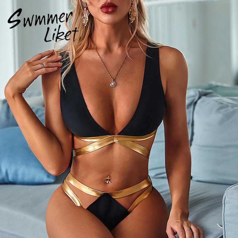 Black Swimwear Women Patchwork Bikini 2020 Mujer Deep V Neck Swimsuit Female High Cut Bathing Suit Hollow Out Summer Bathers New