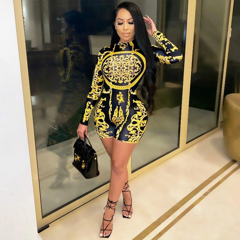 hirigin Fashion Vintage Print Long Sleeve Shorts Rompers Bodycon One Piece Jumpsuit Clubwear Fall 2020 Women Clothing