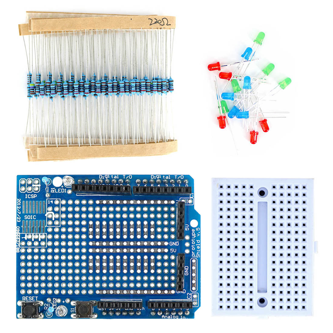 Mini Breadboard + Prototype Shield Kit With Resistor And LED For Arduino