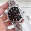 Luxe Merk Nieuwe Mannen Automatische Mechanische Horloge Roestvrij Staal Zwart Blauw Glas Back Aqua Terra Waterdichte Sport Limited AAA +