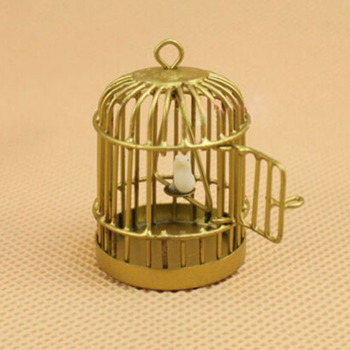 1pc Mini Hollow Bird Cage Handmade Metal Bird Cage DIY Bracelet Necklace Jewelry Pendant Miniature Home Decor 1