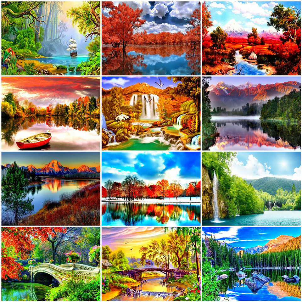 AZQSD Unframe DIY Painting By Numbers Natural Scenery Unique Gift Acrylic Paint Coloring By Numbers Waterfall Decor For Home