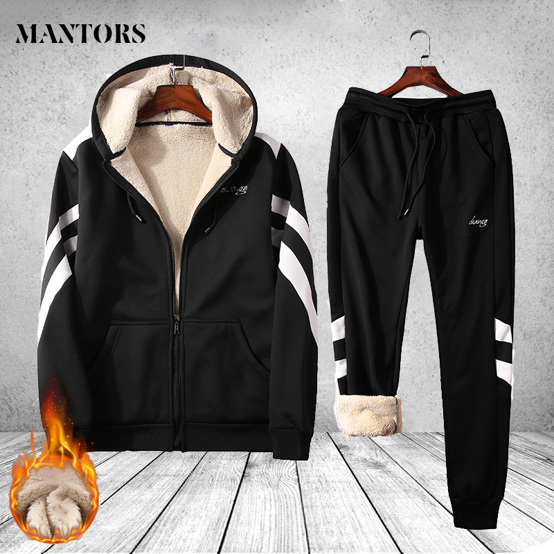 Men's Tracksuit Thick Winter Two Pieces Sets Sweatsuit Overalls Male Leisure Suit Hoodies Jackets Pants Mens Clothing Sportswear