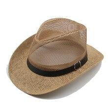 Шляпа мужская соломенная в ковбойском стиле воздухопроницаемая