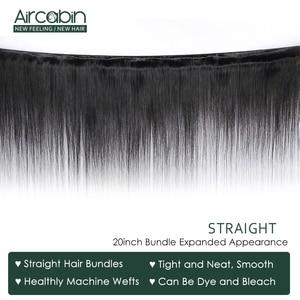 Image 4 - Aircabinストレート髪のバンドル 13 × 6 レース前頭ブラジルのremy人間の髪バンドル拡張とレース閉鎖