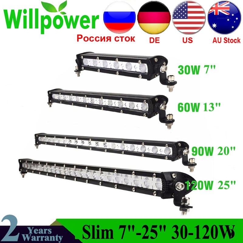 Slim 30W 60W 90W 120W Led Light Bar Work Lights 12v Spot Flood Combo Beam For Truck Tractor ATV SUV 4X4 4WD Offroad Headlights
