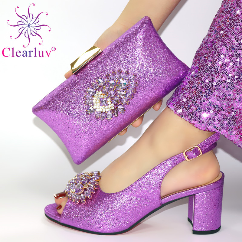 Light Purple Latest Wedding Shoes Bride Crista Italian Shoes With Matching Bags Latest Design Italian Shoes And Bags Set