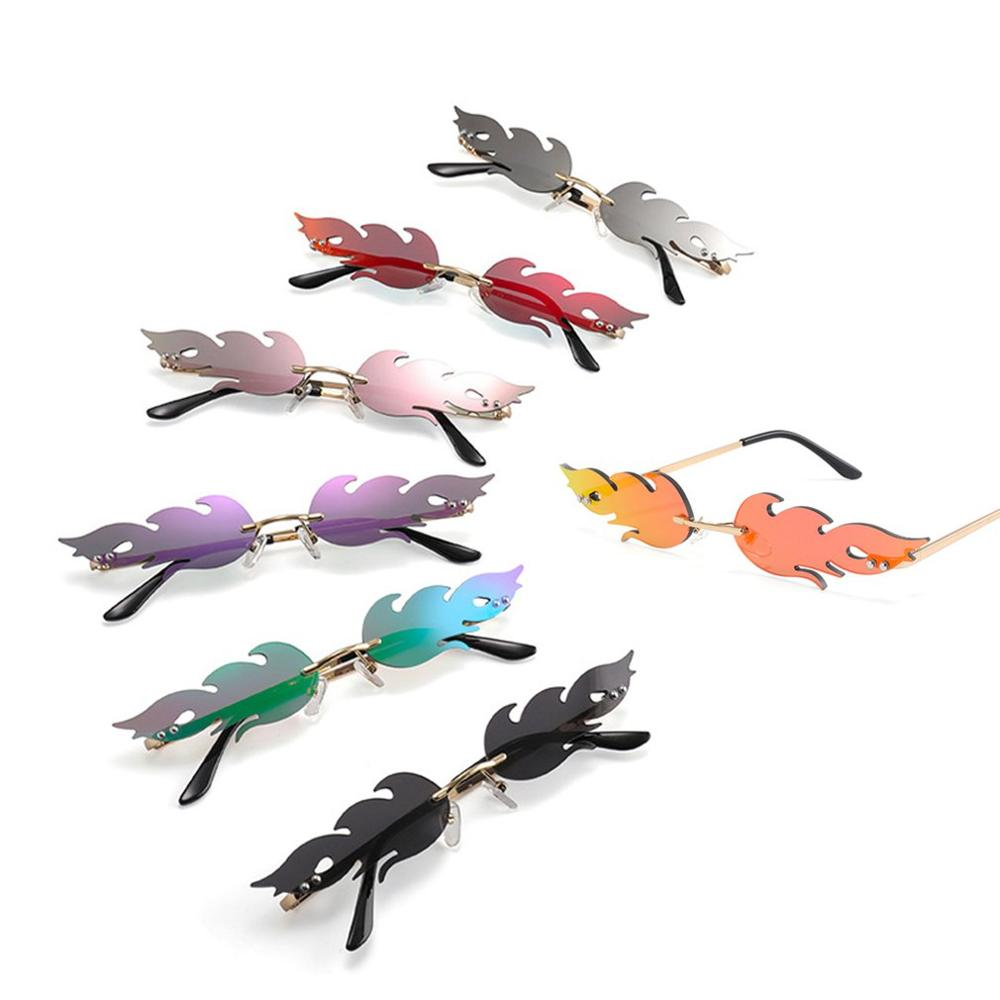 2020 Fashion Fire Flame Sunglasses Women Men Rimless Wave Sun Glasses UV 400 Eyewear Luxury Trending Narrow Sunglasses