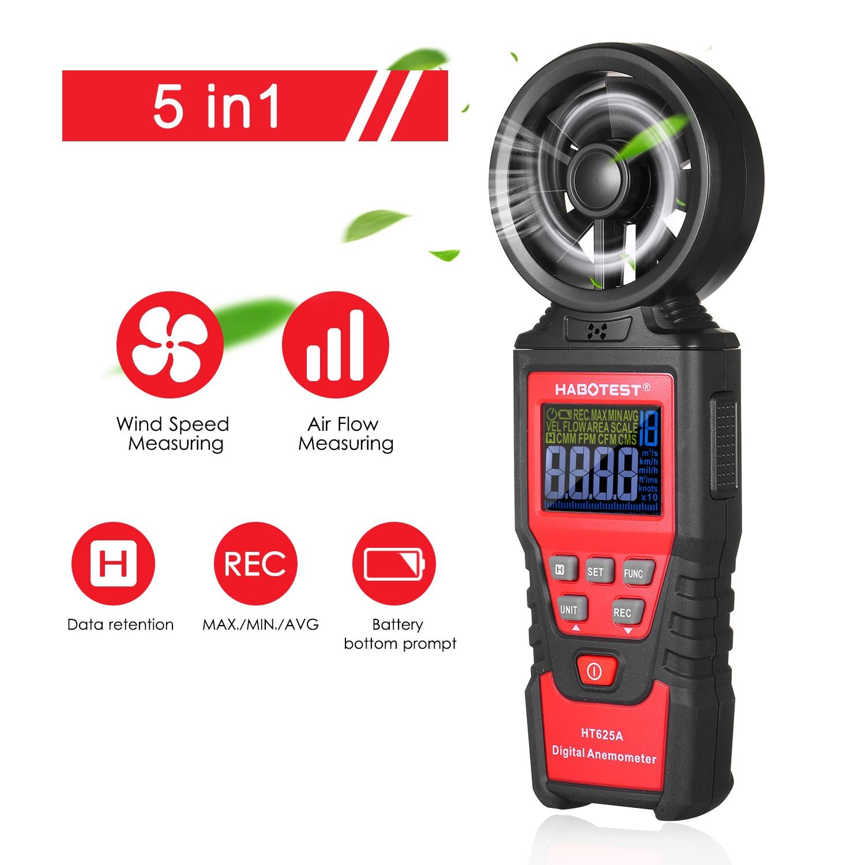 LCD-Handheld Digital Anemometer Wind Speed Meter Waterproof+6 Wind Speed Units
