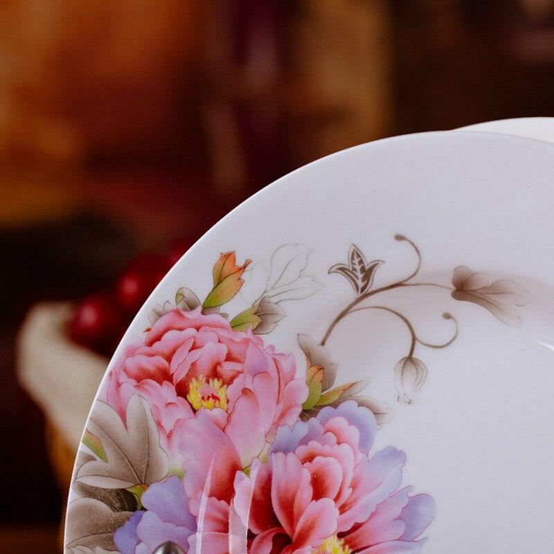 Vaisselle en porcelaine porcelaine 8 * pouce | Ensemble de vaisselle chinoise en céramique, assiettes de soupe profonde, assiettes de Sushi 6 pièces/ensemble - 4