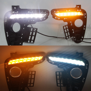 Image 5 - Car DRL 12V LED Daytime Running Light Daylight fog lamp For Kia Rio K2 2017 2018 Yellow Turning Signal Style Relay Waterproof