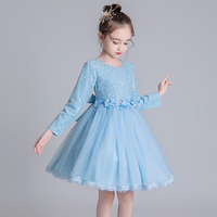 Girls princess dress 2019 autumn and winter models mesh dress big children flower children's clothing 3 years old baby