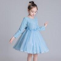 Girls princess dress 2019 autumn and winter models mesh dress big children flower children's clothing 3 years old baby