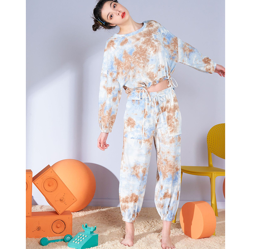 2020 Spring Women Sets Round Neck Long Sleeve Waist Shape Tops Drawstring Pants Workout Tracksuits