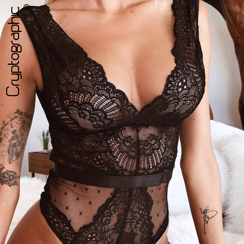 Cryptographic Sexy V-Neck Backless Lace Mesh Bodysuit Women Sleeveless Hollow Out Sheer Teddy Female Jumpsuits Fashion Body 2019