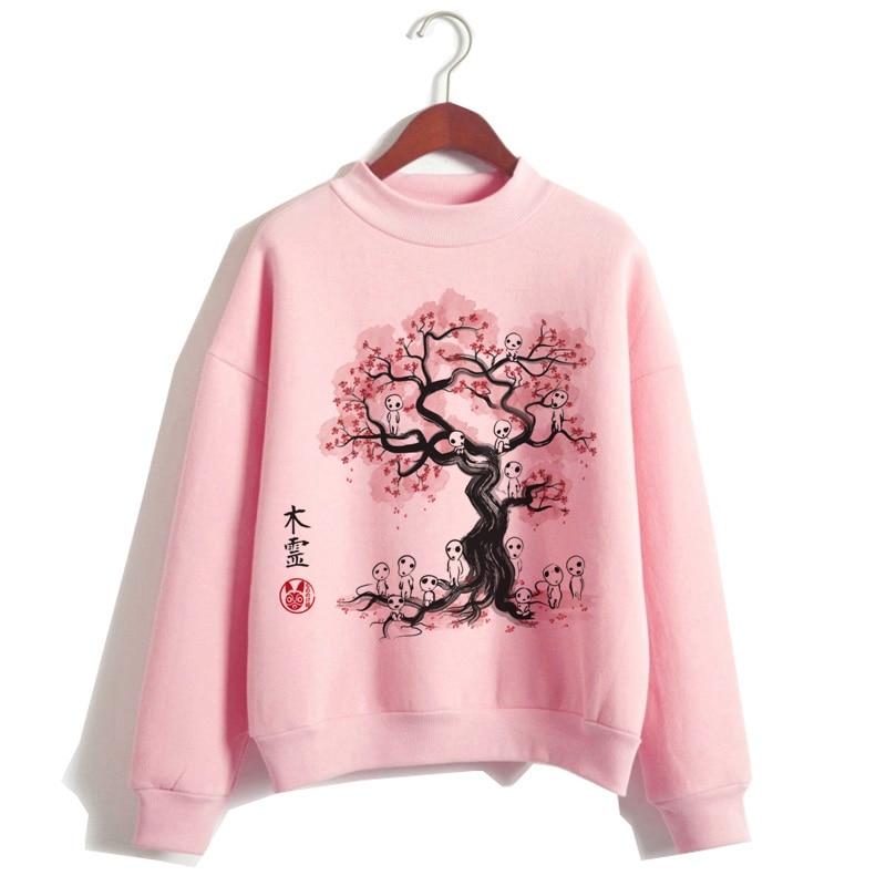 Totoro Spirit Away Hoodie Women Funny Japanese Cartoon Pink Sweatshirt Kawaii Harajuku Hood Streetwear Female Clothes