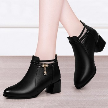 Autumn Genuine Leather Women Shoes Woman Boots Fashion Round Toe Ankle Boots 2020 Black Casual Office Comfortable Boots N0007 autumn winter ankle boots women platform boots lace up black white leather rubber boots woman shoes comfortable women s boots
