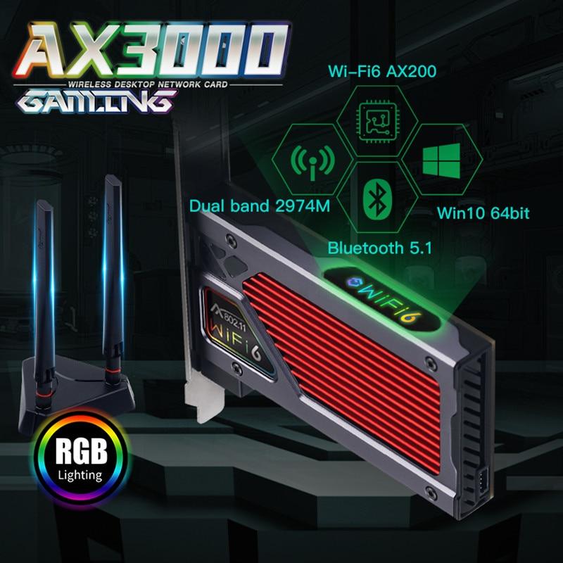 Fenvi AX3000 Wi-Fi 6 PCIe WiFi Card for PC Gaming Desktop Bluetooth 5.1 Dual Band 802.11AX Wireless Adapter MU-MIMO RGB Light