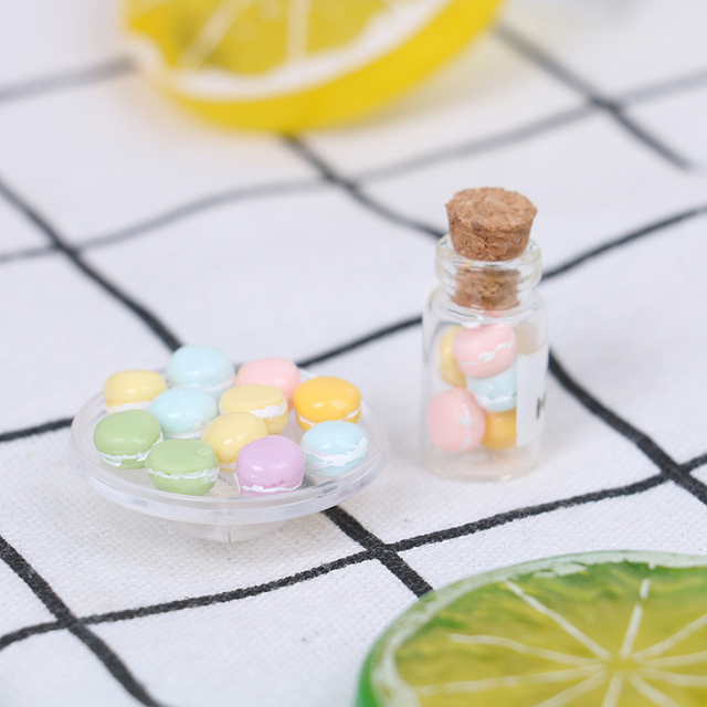Mini maison de poupée Macaron échelle 1/12, 1 pièce, accessoires de cuisine, nourriture et Dessert, jouet, 2 tailles