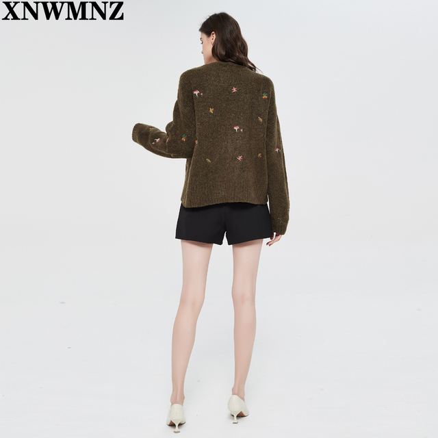 XNWMNZ Za women Vintage knit cardigan with embroidery Long sleeves V-neck ribbed trims Cardigan Female Elegant sweater Outerwear 6