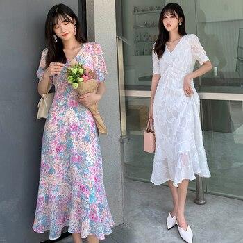 Long Floral Print Chiffon Women Dress Summer Elegant White Runway 2020 Party Night Tropical Bohemian Vacation Beach