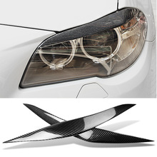 цена на Car Styling Carbon Fiber Headlights Eyebrows Eyelids For BMW F10 F11 F18 5-Series 2011-2017 Front Headlamps Trim Cover Sticker