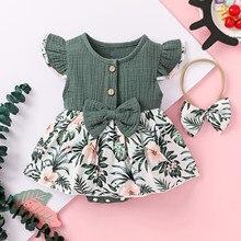 Одежда для малышей; Комбинезон для новорожденных и маленьких девочек, льняная рифленый бантик Цветочный комбинезон повязка на голову, боди,...