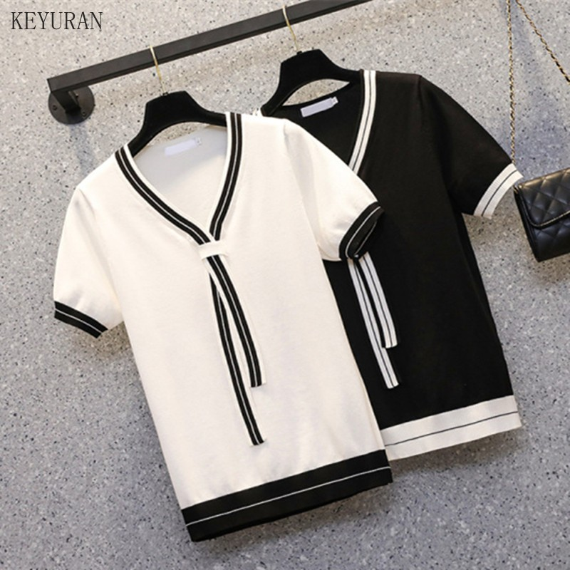 Plus Size Short-sleeved V-neck Knitted T-shirt Women's Summer 2021 New Short Sleeve Ice Silk Loose Black/White Knitwear Tops