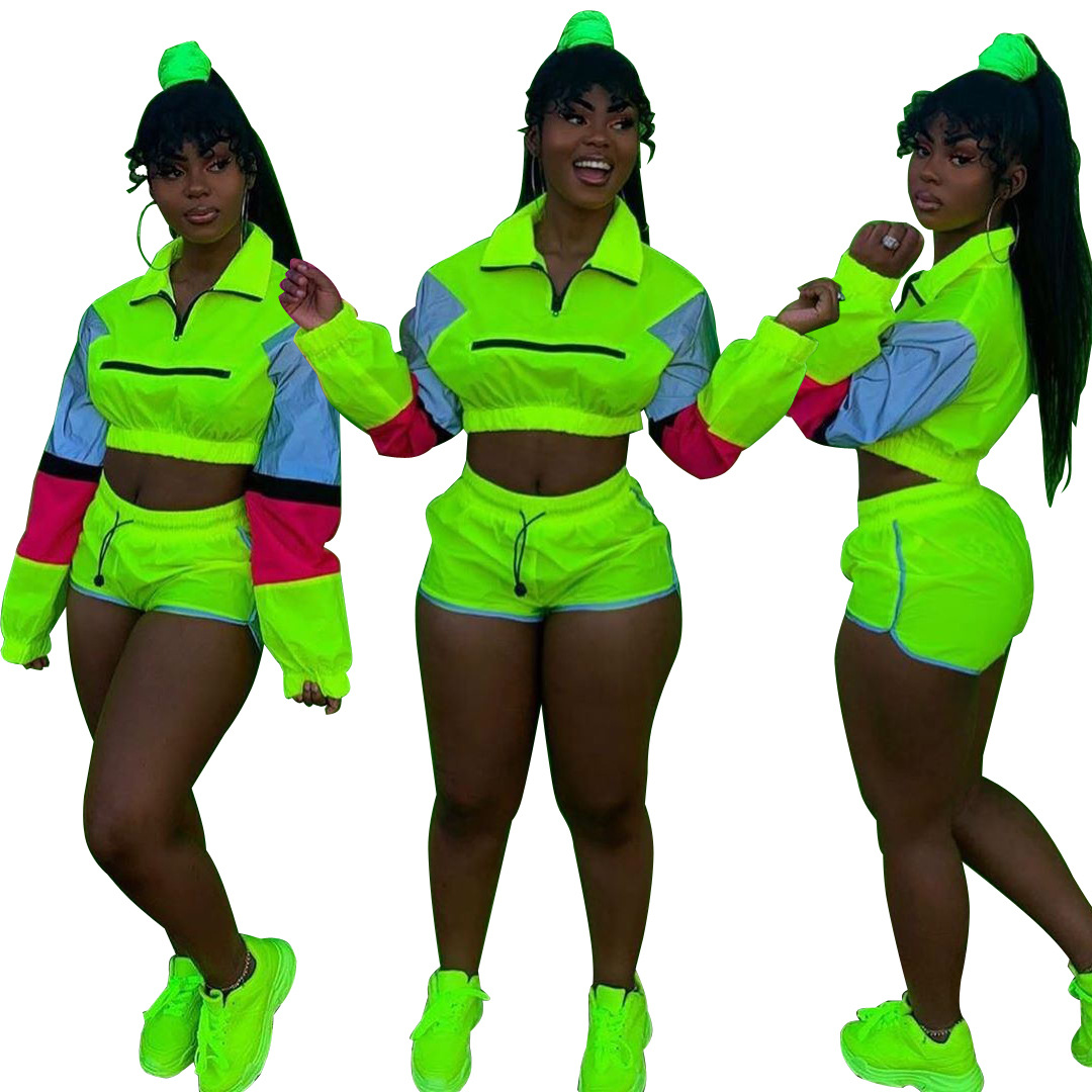 AJ4070 Europe And America Hot Selling   Reflective Joint Leisure Sports Suit