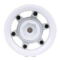 "INJORA 4Pcs Plastic 1.55"" Beadlock Wheel Rim White/ Black for 1/10 RC Crawler Car Axial 90069 D90 TF2 Tamiya CC01 LC70 MST JIMNY 5"