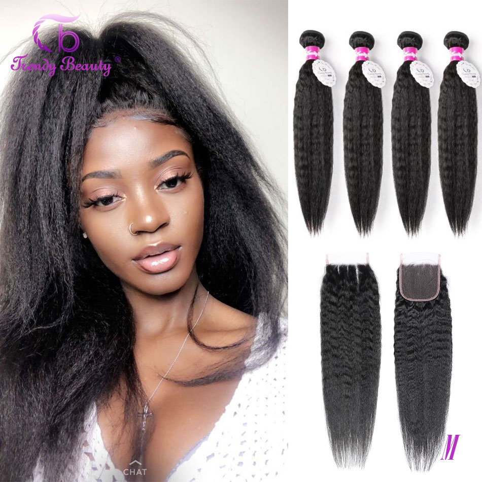 Trendy Beauty Brazilian Kinky Straight Hair 4Bundles With Closure Middle/Three/Free Part 100% Human Hair Extensions Non-remy